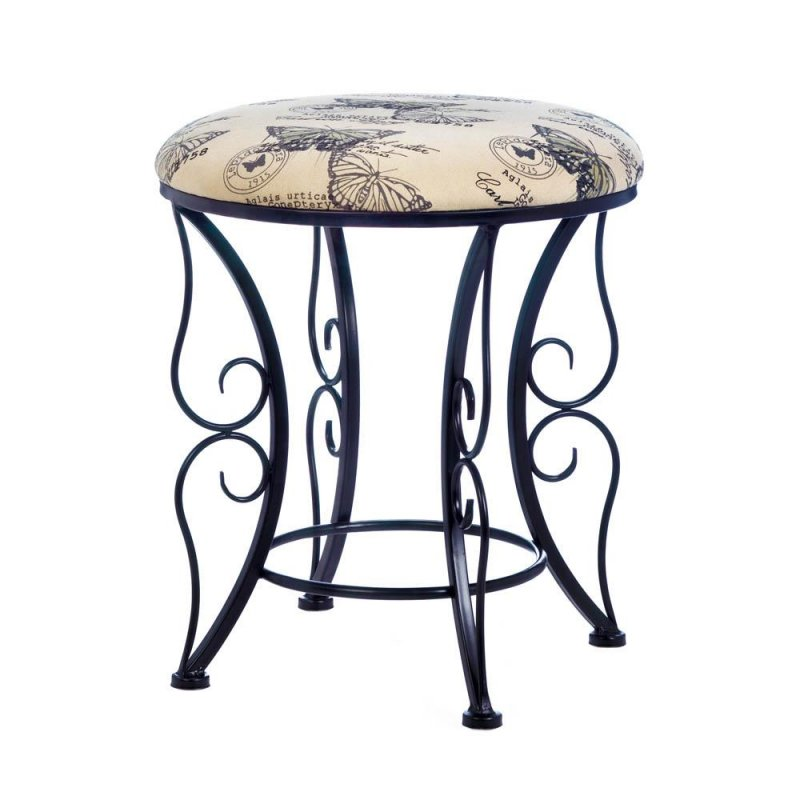 Image 1 of Butterfly Print Sponge Canvas Stool with Black Butterfly Wing Flourishes Base