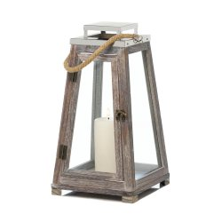Large Rustic Pyramid Shape Wooden Candle Lantern Rope Handle