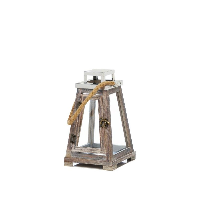 Image 1 of Small Rustic Pyramid Shape Wooden Candle Lantern Rope Handle