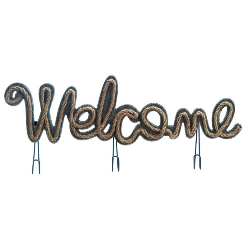 Image 0 of Wooden Welcome Sign w/ Rope Detailing & Hooks for Jackets, Bags or Bathroom