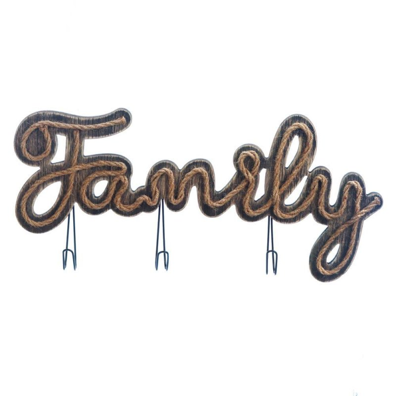 Image 0 of Wooden Family Sign w/ Rope Detailing & Hooks for Jackets, Bags or Bathroom