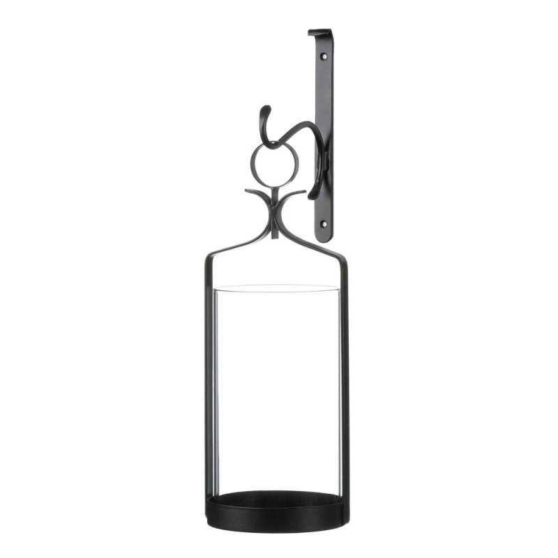 Image 0 of Contemporary Black Wall Sconce with Clear Hurricane Pillar Candle Holder
