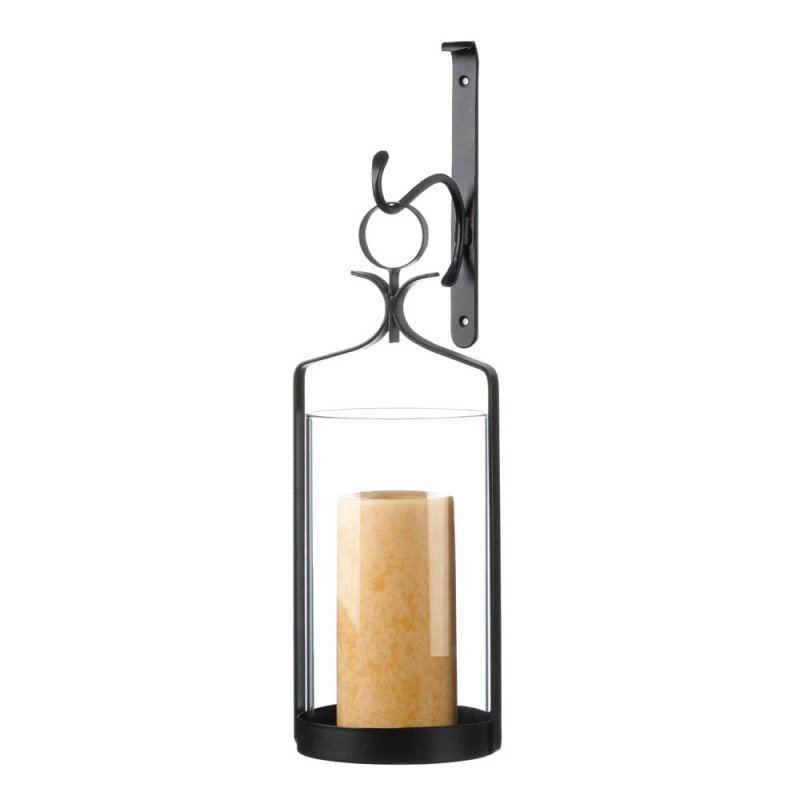 Image 2 of Contemporary Black Wall Sconce with Clear Hurricane Pillar Candle Holder