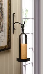 Contemporary Black Wall Sconce with Clear Hurricane Pillar Candle Holder