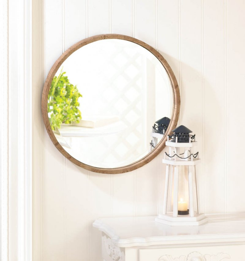 Image 0 of Rustic Chic Fir Wood Decorative Round Wall Mirror