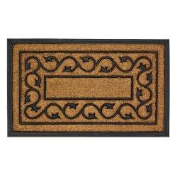 Brown with a Black Ivy Vine Design Indoor or Outdoor Entry Way Door Mat Rug