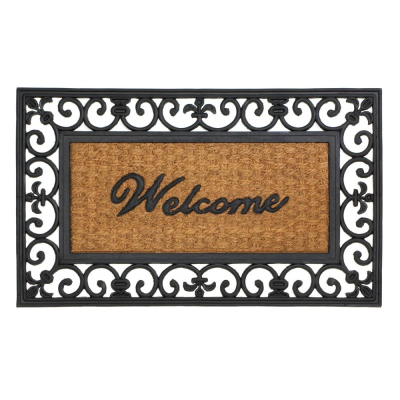 Image 0 of Fleur de Lis Framed Indoor or Outdoor Welcome Door Mat Rug