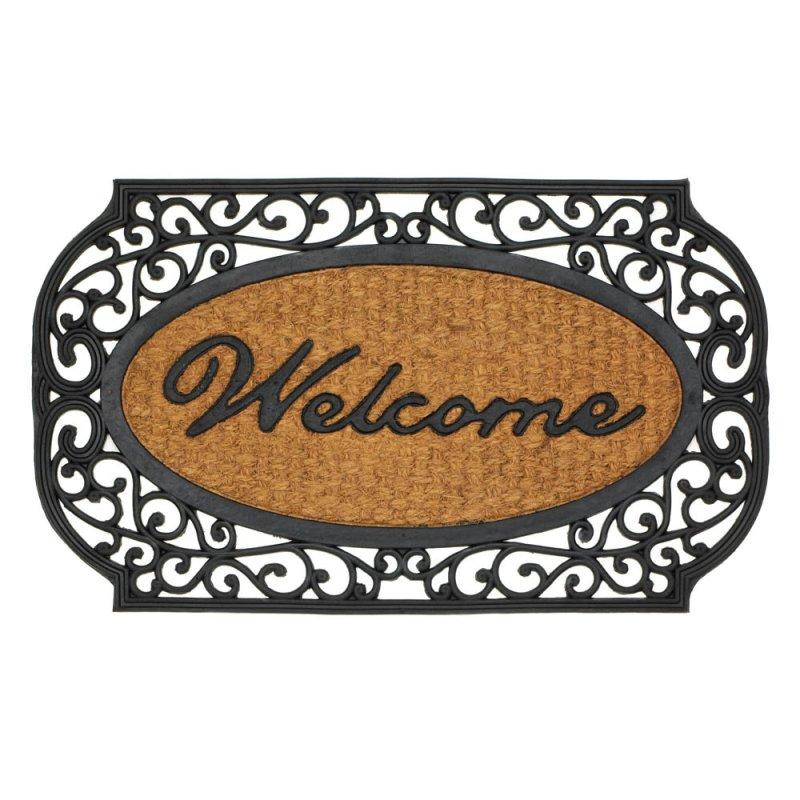 Image 0 of Black Grill Framed Indoor or Outdoor Welcome Door Mat Rug