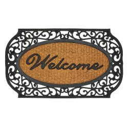 Black Grill Framed Indoor or Outdoor Welcome Door Mat Rug