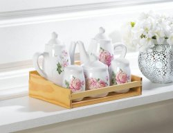 5-pc. Mini Pink Floral Tea Pots, Salt-n-Pepper & Sugar Bowl in Fir Wood Tray Box
