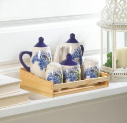 5-pc. Mini Blue Floral Tea Pots, Salt-n-Pepper & Sugar Bowl in Fir Wood Tray Box