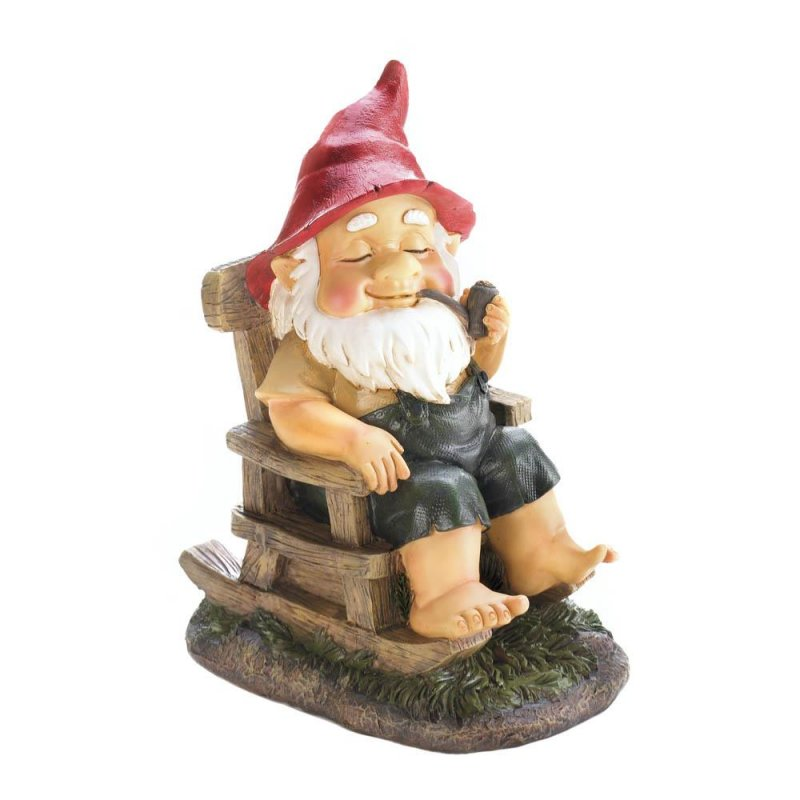 Image 1 of Grandpa Garden Gnome in Rocking Chair in Bib Overalls Smoking Pipe Figurine