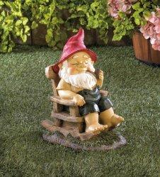 Grandpa Garden Gnome in Rocking Chair in Bib Overalls Smoking Pipe Figurine