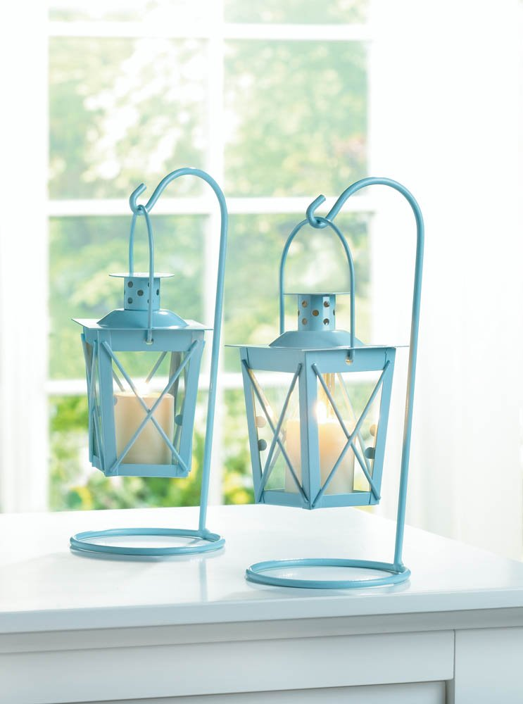 Image 0 of Set of 2 Baby Blue Hanging Railroad Lanterns on Stands Wedding or Baby Shower