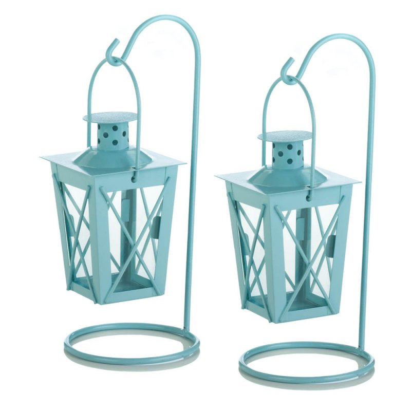 Image 1 of Set of 2 Baby Blue Hanging Railroad Lanterns on Stands Wedding or Baby Shower