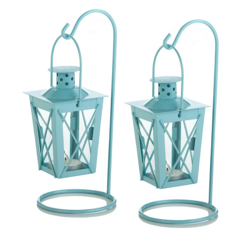 Image 2 of Set of 2 Baby Blue Hanging Railroad Lanterns on Stands Wedding or Baby Shower