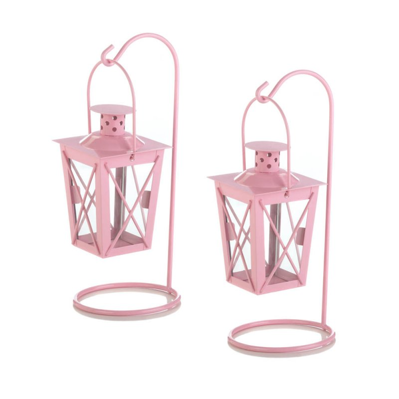 Image 0 of Set of 2 Pretty Pink Hanging Railroad Lanterns on Stands Wedding or Baby Shower