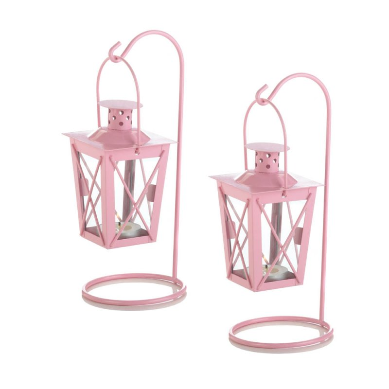 Image 1 of Set of 2 Pretty Pink Hanging Railroad Lanterns on Stands Wedding or Baby Shower