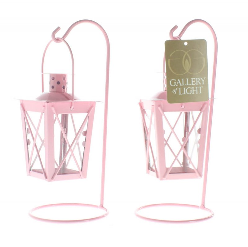 Image 2 of Set of 2 Pretty Pink Hanging Railroad Lanterns on Stands Wedding or Baby Shower