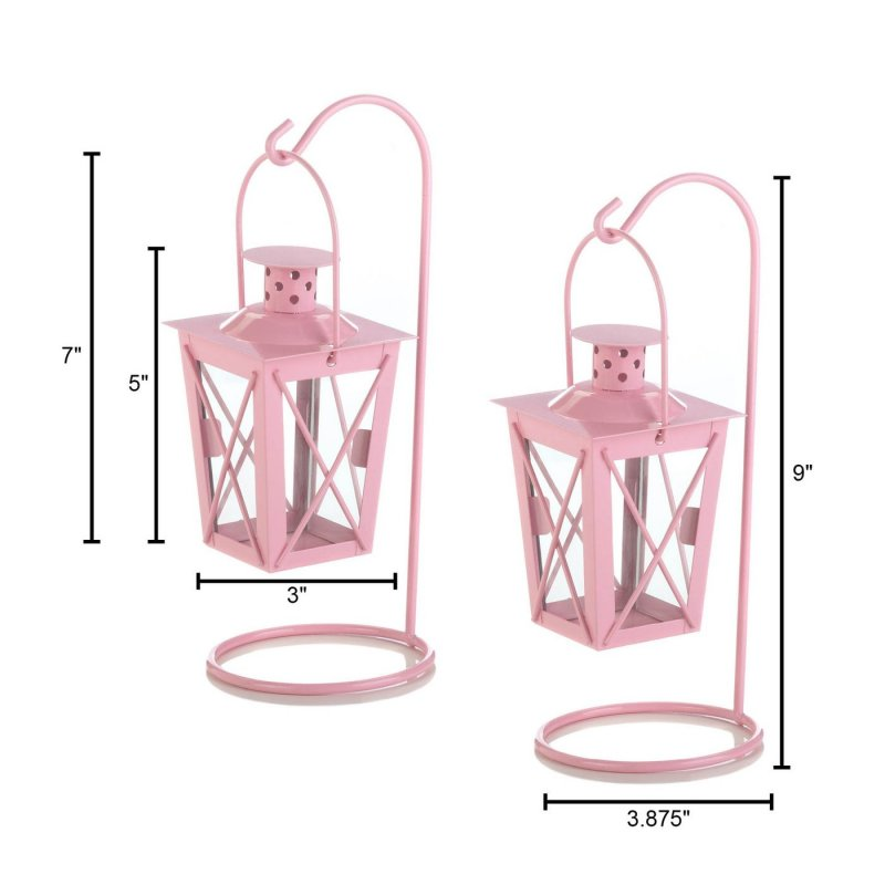 Image 3 of Set of 2 Pretty Pink Hanging Railroad Lanterns on Stands Wedding or Baby Shower