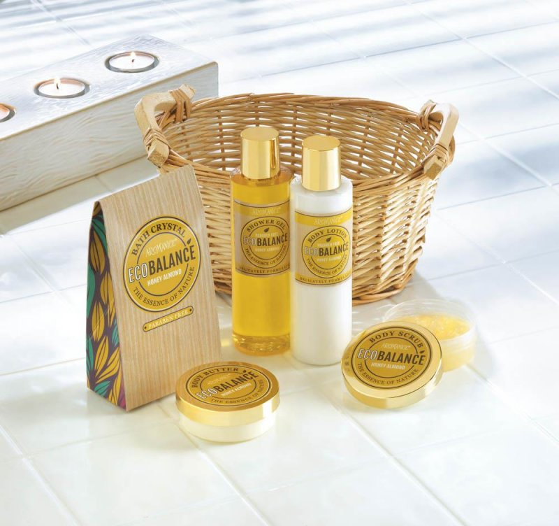 Image 0 of Honey Almond Scented Spa Bath, Shower Gift Set in Willow Basket w/ Handles