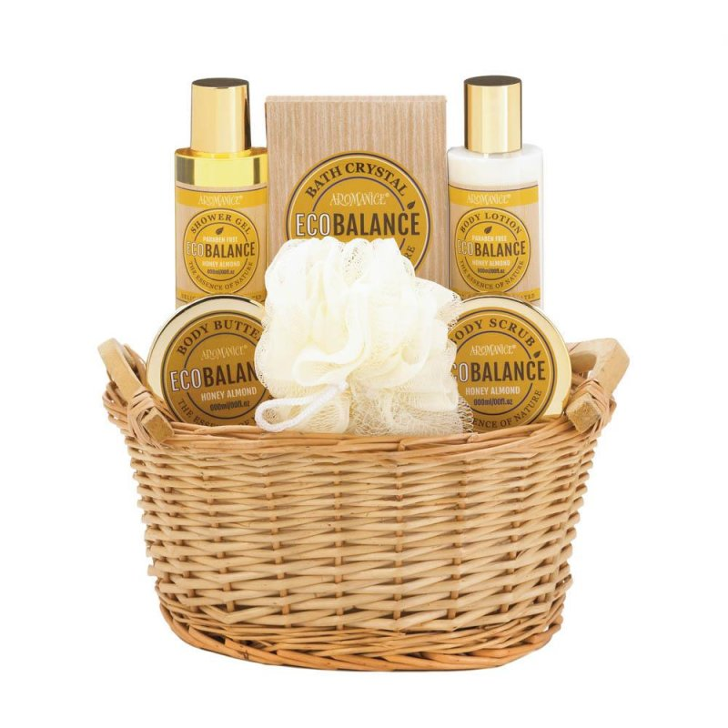 Image 1 of Honey Almond Scented Spa Bath, Shower Gift Set in Willow Basket w/ Handles