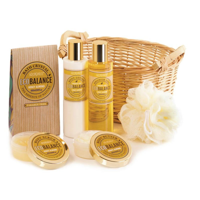 Image 2 of Honey Almond Scented Spa Bath, Shower Gift Set in Willow Basket w/ Handles