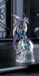 Blue & Green Dragon in Battle Armour w/ Glittering Snow Globe on Castle