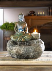 Meditating Buddha Tabletop Water Fountain w/ LED Light & Tealight Candle Holder
