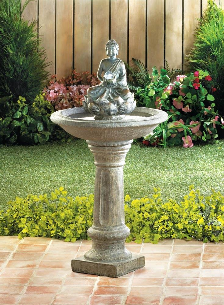 Image 0 of Sitting Buddha Holding LED Glass Orb Pedestal Outdoor Garden Fountain