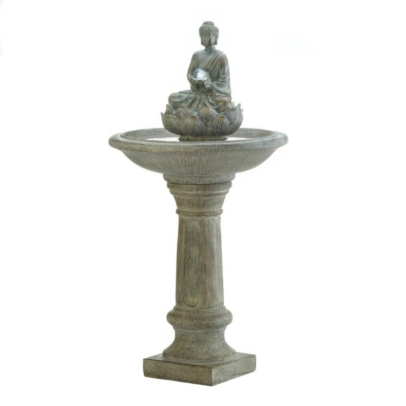 Image 1 of Sitting Buddha Holding LED Glass Orb Pedestal Outdoor Garden Fountain