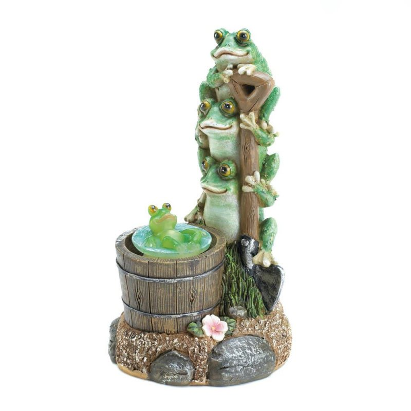 Image 1 of Three Frogs on Garden Shovel Solar Little Frog Rotating in Rain Barrel Figurine