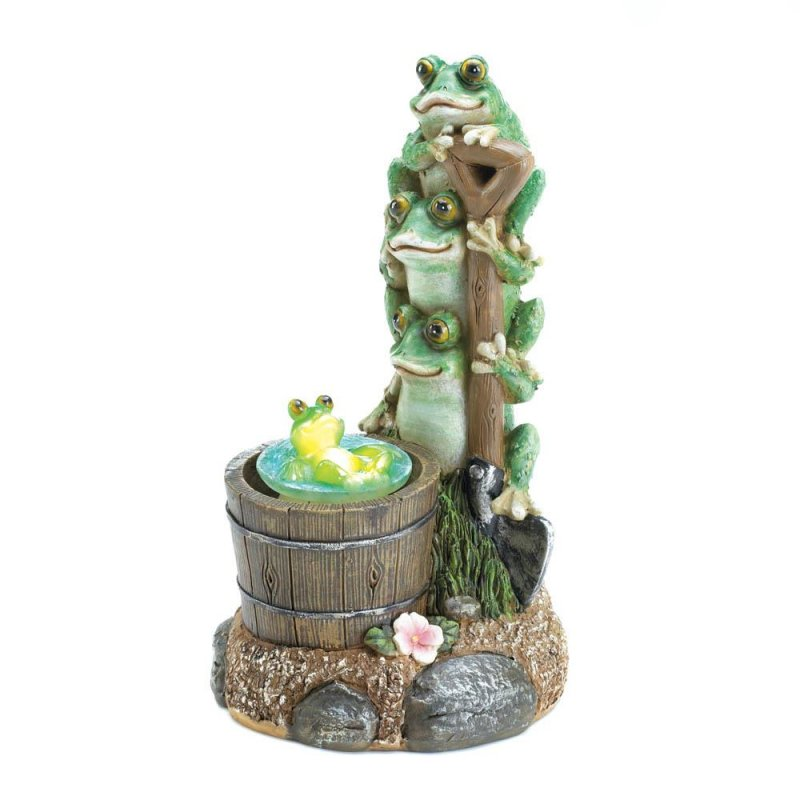 Image 2 of Three Frogs on Garden Shovel Solar Little Frog Rotating in Rain Barrel Figurine