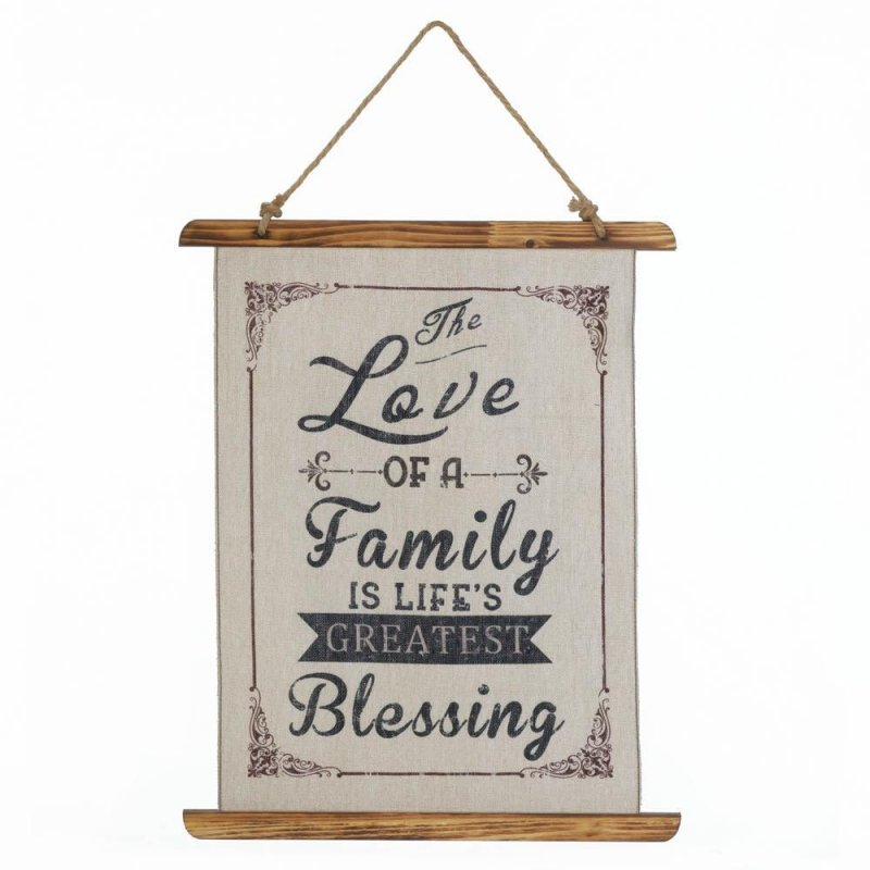 Image 0 of The Love of a Family is Life's Greatest Blessing Linen Scroll Wall Plague