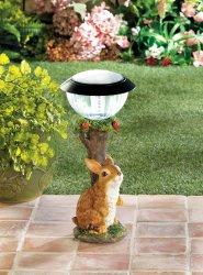 Brown Rabbit Sitting Under Apple Tree w/ Solar Lantern Garden Figurine