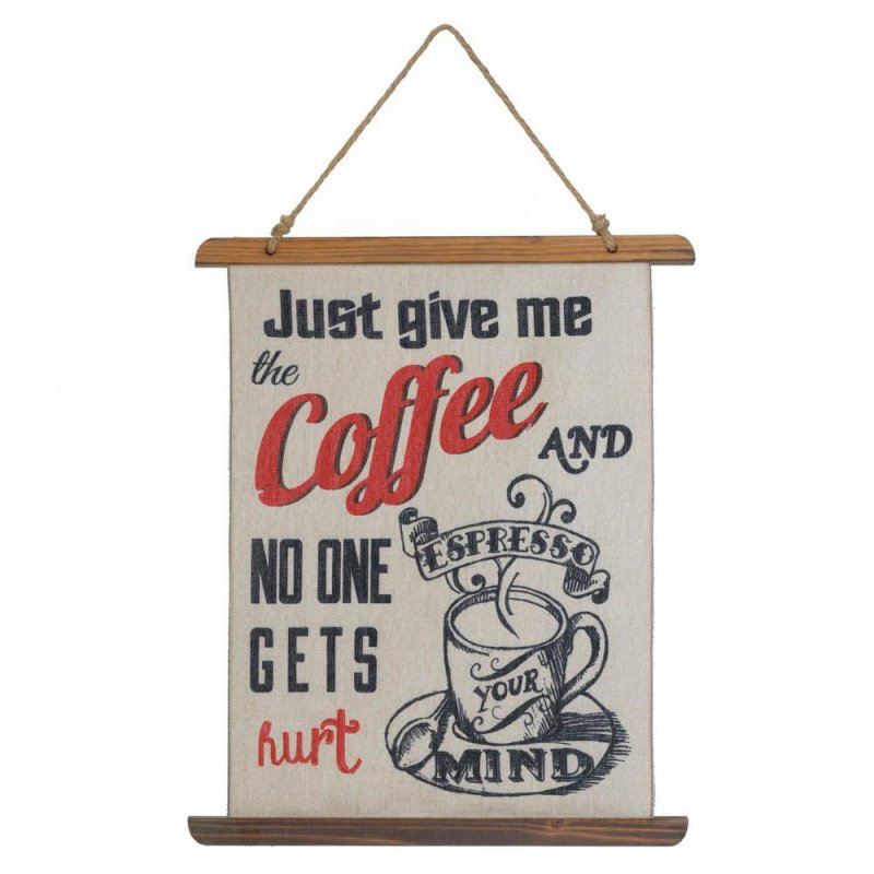 Image 0 of Give me Coffee and No One Gets Hurt Linen Scroll Wall Plague