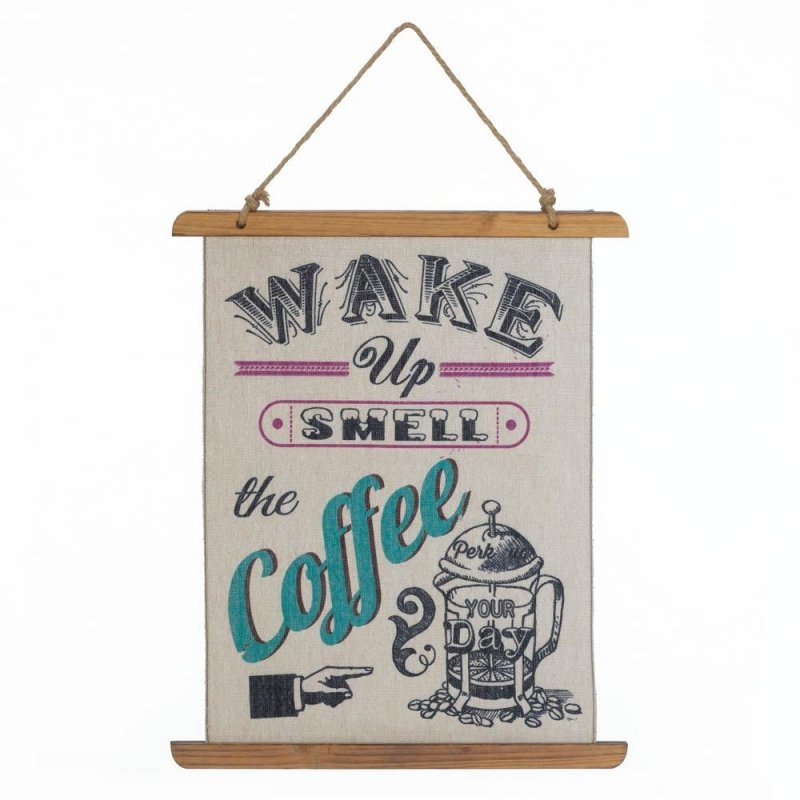 Image 0 of Wake up Smell the Coffee Linen Scroll Wall Plague