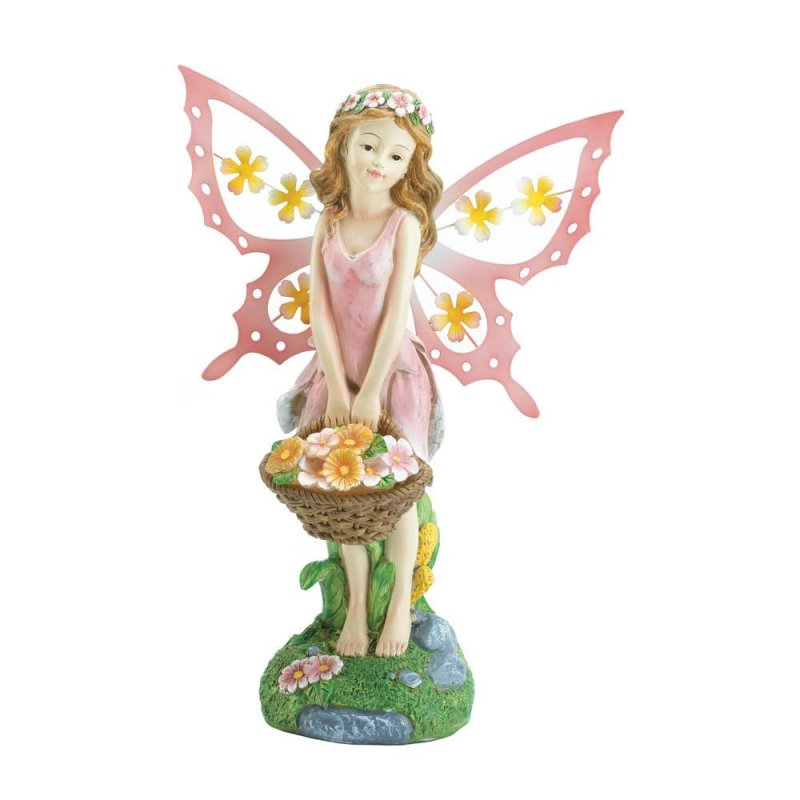 Image 1 of Pink Fairy Holding Solar Flower Basket Garden Figurine