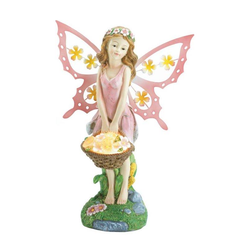 Image 2 of Pink Fairy Holding Solar Flower Basket Garden Figurine