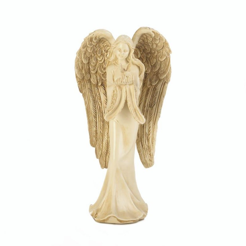 Image 0 of Angel in Flowing Gown Carrying Peaceful Dove w/ Feathered Wings Figurine
