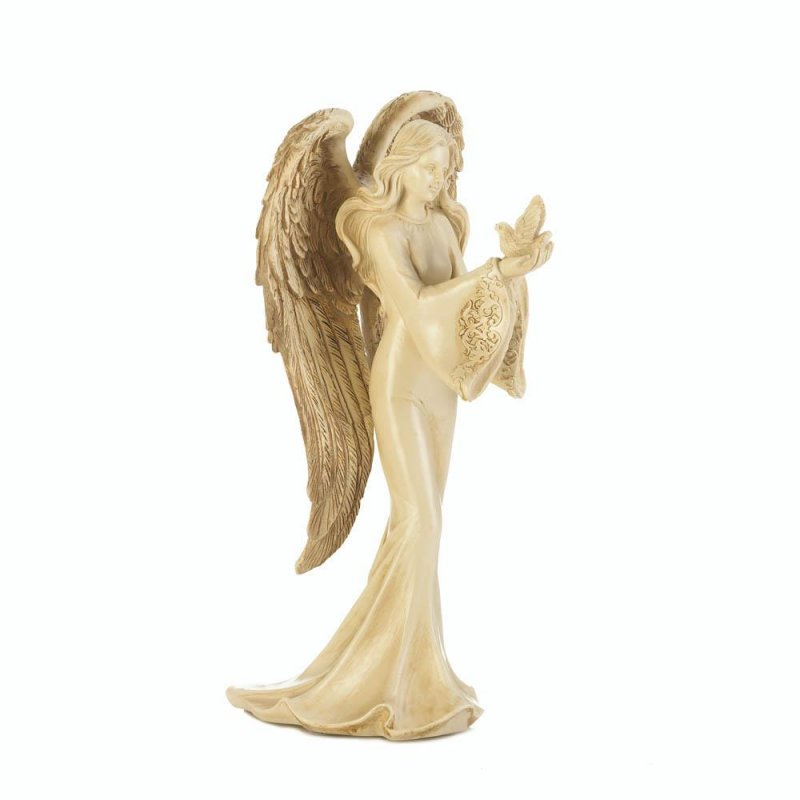 Image 1 of Angel in Flowing Gown Carrying Peaceful Dove w/ Feathered Wings Figurine