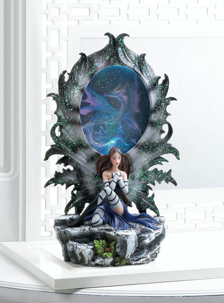 Image 0 of Pretty Fairy Resting Against a Dragon Portal that Lights UP Figurine