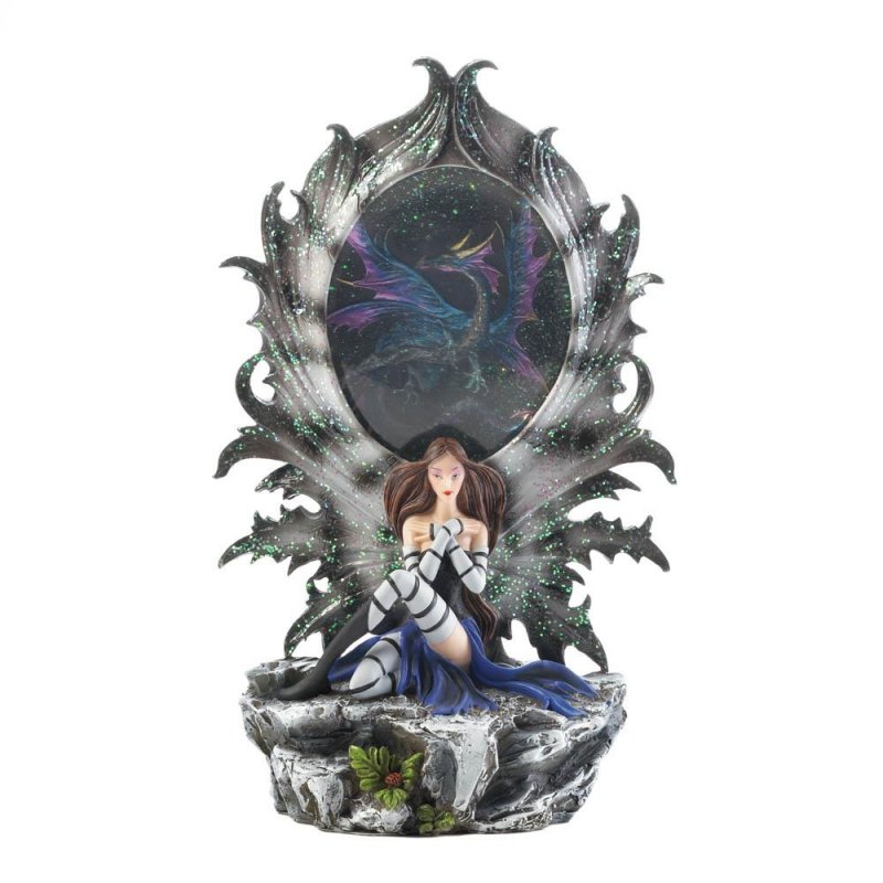 Image 1 of Pretty Fairy Resting Against a Dragon Portal that Lights UP Figurine