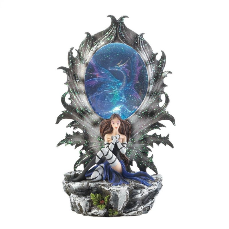 Image 2 of Pretty Fairy Resting Against a Dragon Portal that Lights UP Figurine