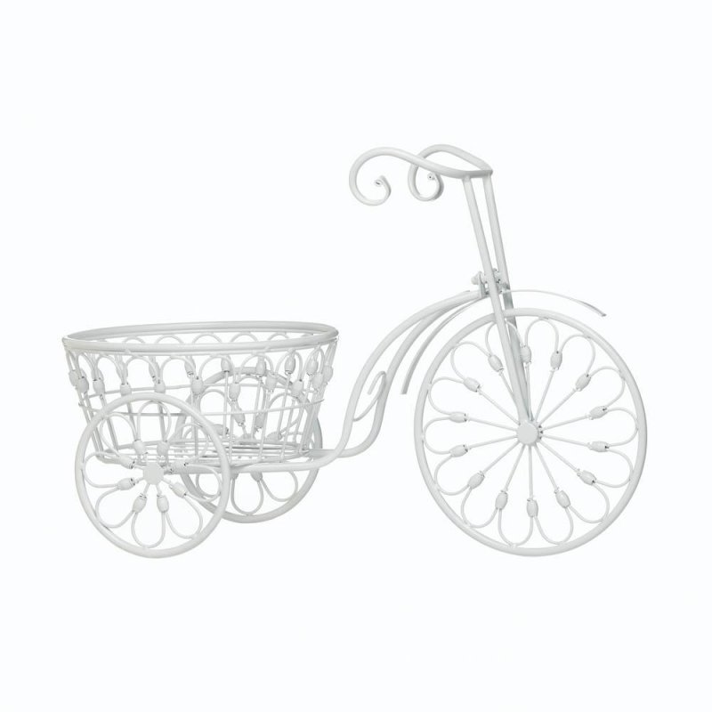 Image 1 of White Vintage Style Three Wheel Bicycle Iron Planter w/ Basket