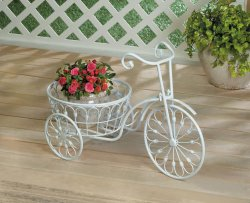White Vintage Style Three Wheel Bicycle Iron Planter w/ Basket