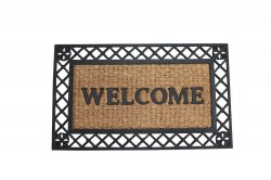 Brown Coir Fiber with a Black Rubber Border Bold Welcome Door Mat