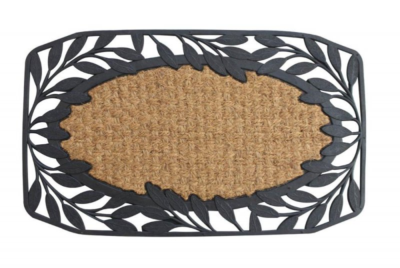Image 0 of Brown Coir Fiber with a Black Rubber Vine Leaves Border Welcome Door Mat