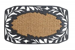 Brown Coir Fiber with a Black Rubber Vine Leaves Border Welcome Door Mat