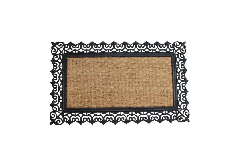 Image 0 of Brown Coir Fiber with a Black Rubber Lacy Scroll Design Border Welcome Door Mat